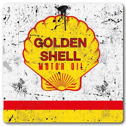 Golden Shell Motor Oil Metal Wall Sign